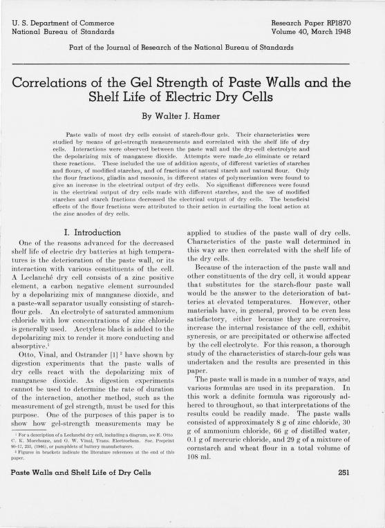 Walter J. Hamer - Correlations of the gel strength of paste walls and the shelf life of electric dry cells