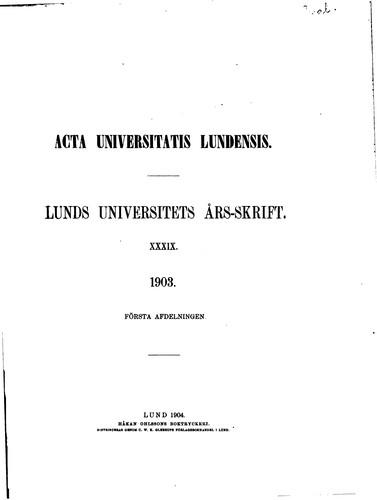 Lunds universitets års-skrift