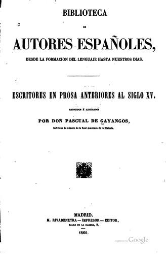 Download Escritores en prosa anteriores al siglo XV.