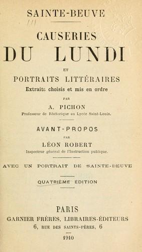 Causeries du lundi et portraits littéraires.