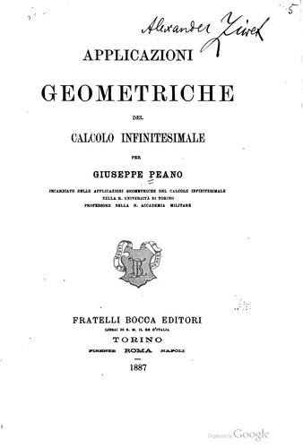 Applicazioni geometriche del calcolo infinitesimale