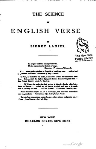 Download The science of English verse