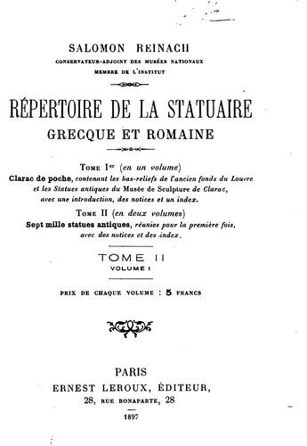 Répertoire de la statuaire grecque et romaine.