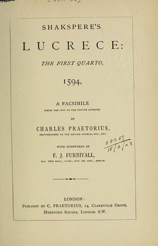Download Shakspere's Lucrece