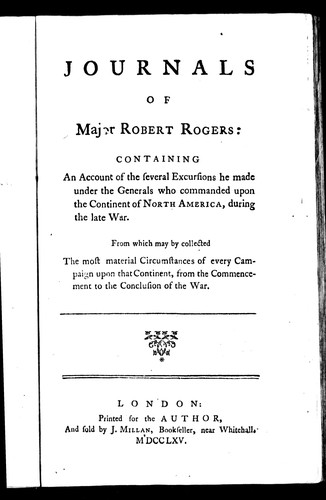 Download Journals of Major Robert Rogers
