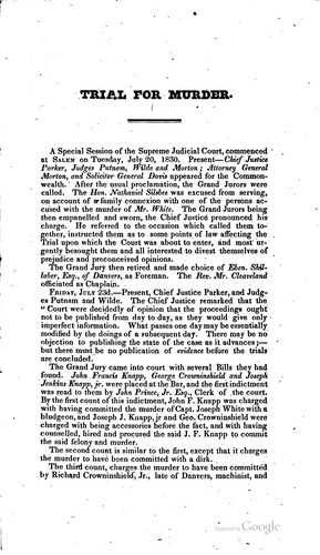 Download A report of the evidence and points of law, arising in the trial of John Francis Knapp, for the murder of Joseph White, Esquire
