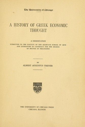 A history of Greek economic thought …