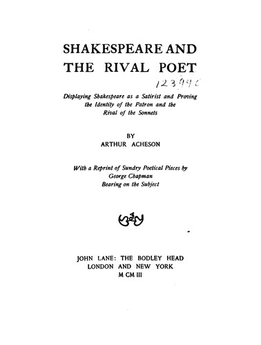 Download Shakespeare and the rival poet