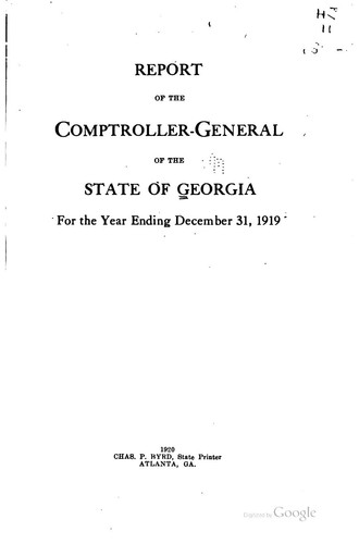 Report of the Comptroller-General of the State of Georgia for the Year …