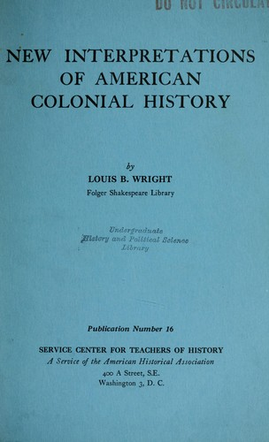 Download New Interpretations of American colonial history.