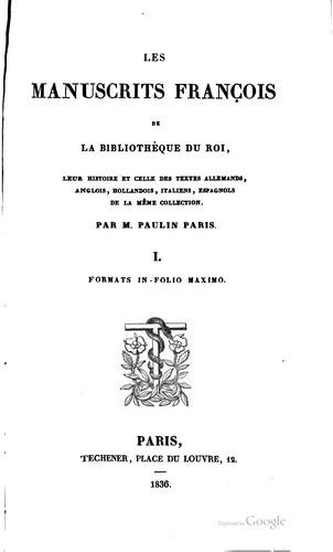 Download Les manuscrits françois de la Bibliothèque du roi