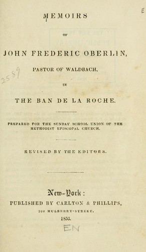 Memoirs of John Frederic Oberlin by Johann Friedrich Oberlin