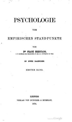 Psychologie vom empirischen Standpunkt.