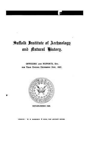 Proceedings of the Suffolk Institute of Archaeology by Suffolk Institute of Archaeology