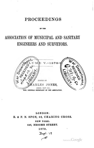 Proceedings by Institution of Municipal Engineers