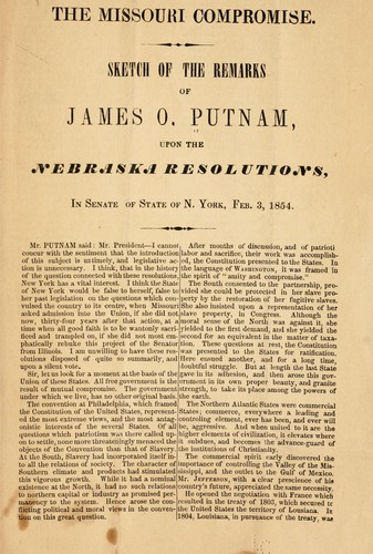 The Missouri compromise by Putnam, James Osborne