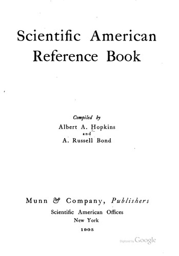 Scientific American Reference Book by Albert Allis Hopkins , Alexander Russell Bond