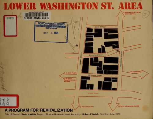 Lower Washington street area: a program for revitalization by Boston Redevelopment Authority