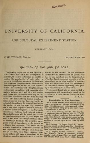 Analyses of figs and fig soils by Myer E. Jaffa