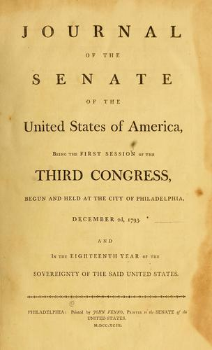 Journal // of the // Senate // of the // United States of America by United States. Congress. Senate
